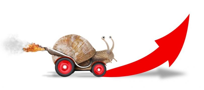 Snail on wheels moving quickly forwards and upwards - Graphic