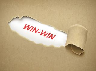 torn brown paper with the words 'win-win' underneath