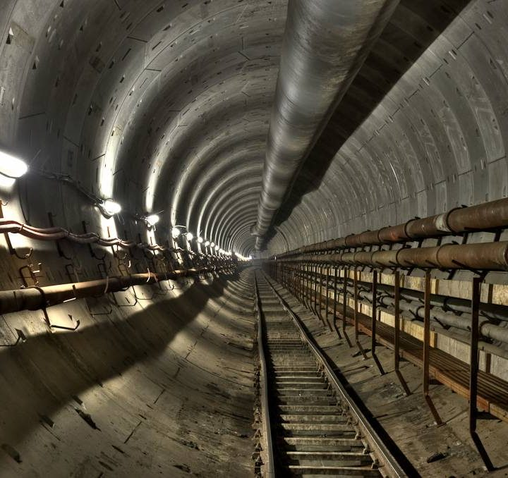 Railway underground tunnel