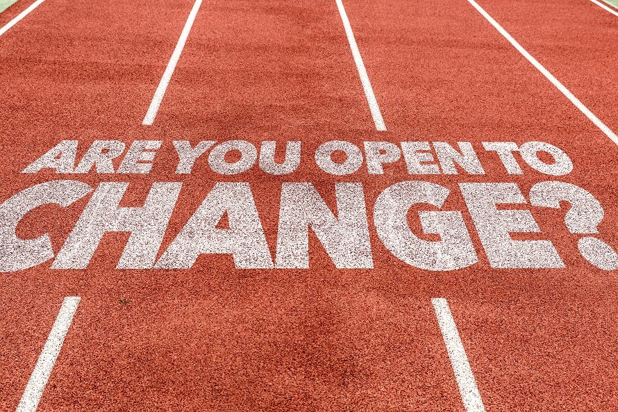 Are You Open to Change? written on running track