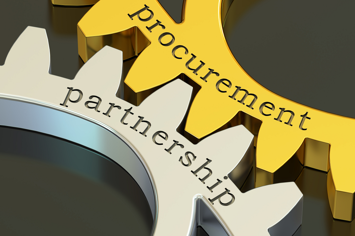 Two cogs interlocked with the text 'Partnership' on one and 'Procurement' on the other