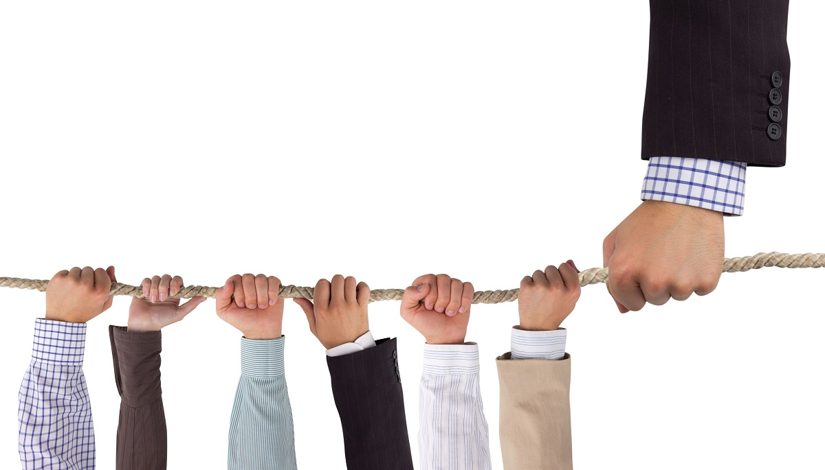 Business persons hand holding a rope up with multiple hands hanging on to the rope on the other side