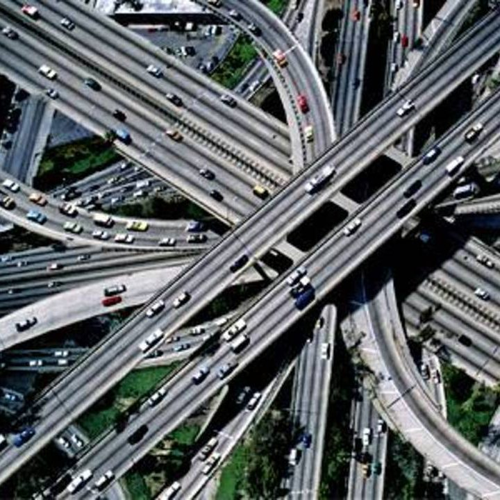 Aerial image of busy roads and overpasses
