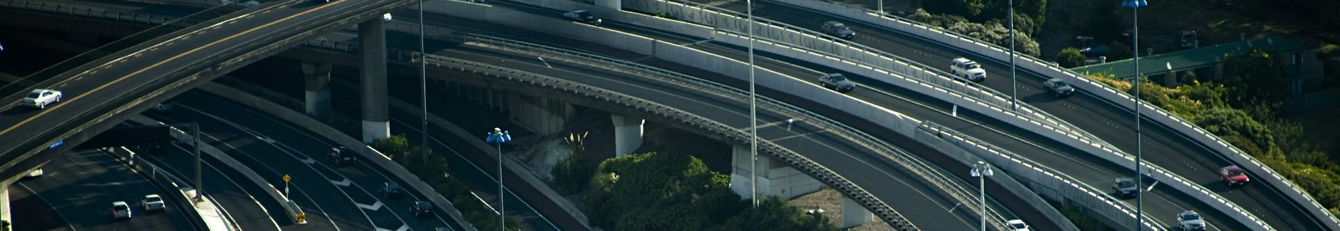 Multiple level highways and overpasses from an aerial view