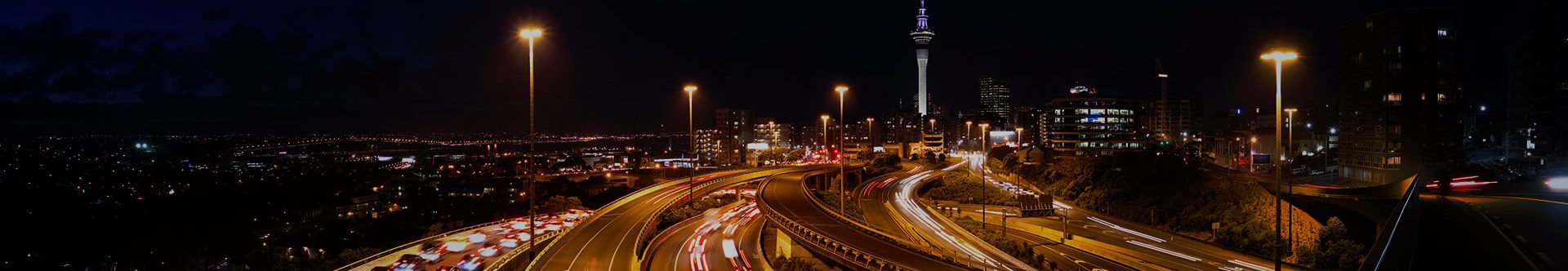 Highways and overpasses at night in Auckland